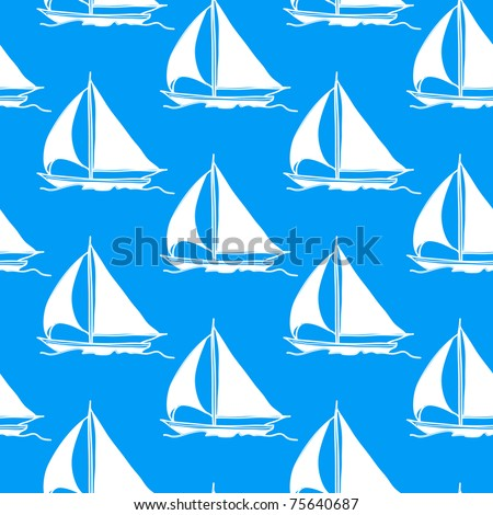 seamless wallpaper with a sailboat on the ocean waves - stock vector