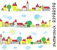Seamless wallpaper with kids town - stock vector