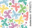 Seamless wallpaper with pastel colorful butterflies (vector) - stock vector
