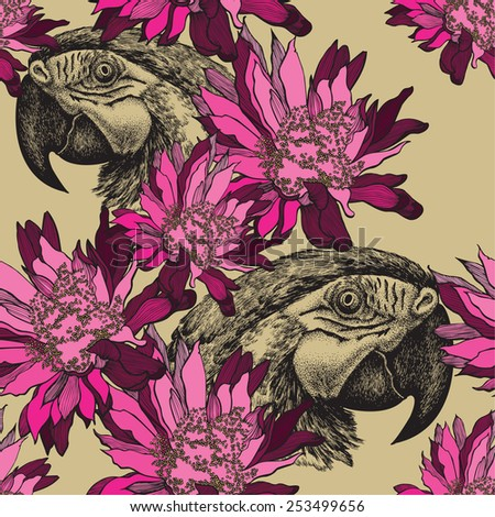 Seamless wallpaper with pink flowers and parrot, hand-drawing. Vector illustration. - stock vector