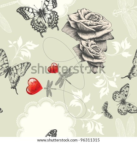 Seamless wallpaper with roses, butterflies and red hearts, Hand drawing. Vector. - stock vector