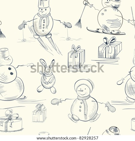 Seamless wallpaper with snowman - stock vector