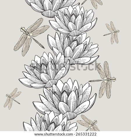 Seamless wallpaper with water lilies and dragonflies, hand-drawing. Vector Illustration. - stock vector