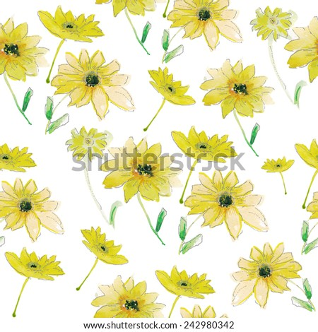 Seamless wallpaper with Yellow  flowers, Watercolor painting - stock vector