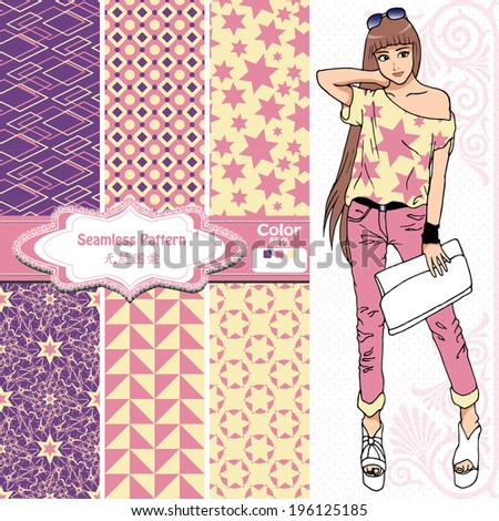 Seamless Wallpaper Wrapper Fabric Pattern Designnice Fashion Girl Design The Chinese