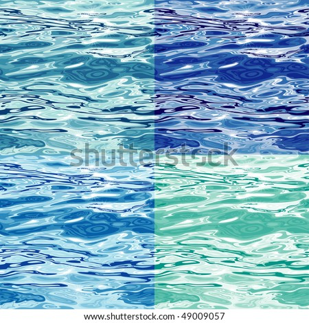 Seamless Water Surface Pattern Variations, editable  vector illustrations - stock vector