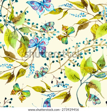 Seamless watercolor background with butterfly and leaf, Vector - stock vector