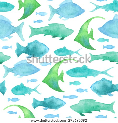 Seamless watercolor fish pattern. Blue watercolor fishes on white background. Boundless background for your design.