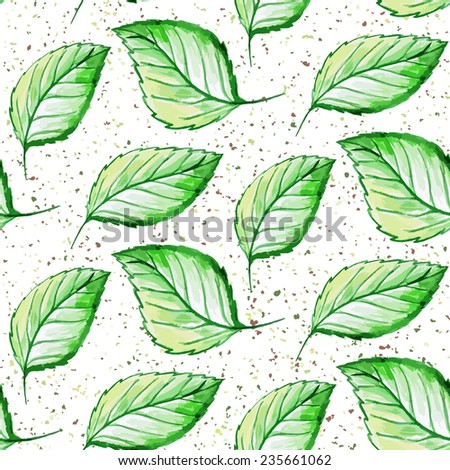 Seamless watercolor hand drawn leaves pattern. Vector illustration.