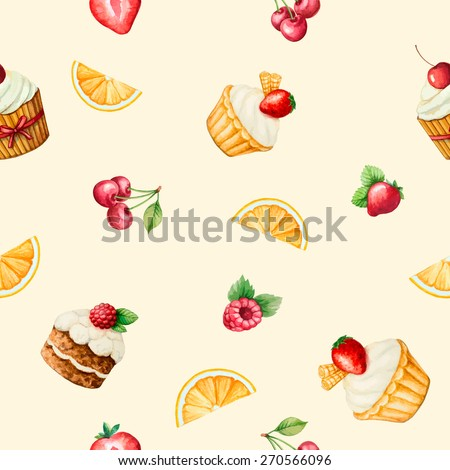 Seamless, watercolor pattern of sweets for the holiday, vector illustration.