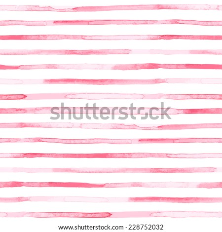 Seamless watercolor pattern. Pink stripes. Vector illustration - stock vector