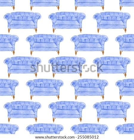 Seamless watercolor pattern with sofa on the white background, aquarelle. Vector illustration. Hand-drawn original background. Useful for invitations, scrapbooking, design. Home and furniture - stock vector