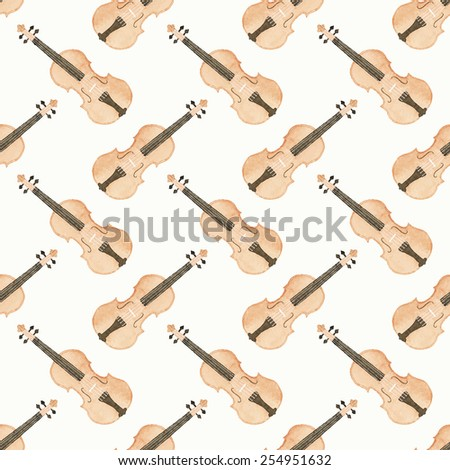 Seamless watercolor pattern with violin on the white background, aquarelle.Vector illustration. Hand-drawn original background. Useful for invitations, scrapbooking, design. Classical and modern music - stock vector
