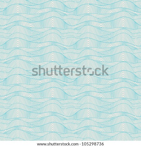Seamless wave hand-drawn pattern, waves background (seamlessly tiling).Can be used for wallpaper, pattern fills, web page background,surface textures. Gorgeous seamless wave background - stock vector