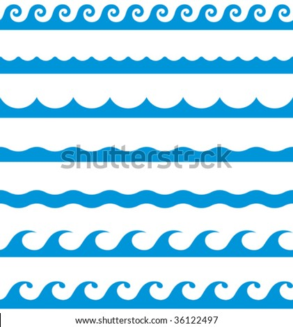 Seamless wave patterns (Vector) - stock vector