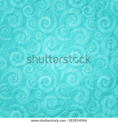 seamless waves pattern on blue paper texture - stock vector