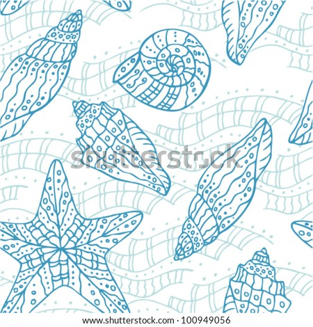 Seamless wavy abstract pattern with sea shells and starfish - stock vector
