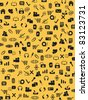 Seamless web icons pattern on yellow background - stock vector