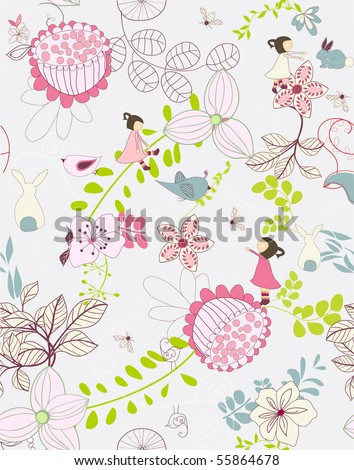 seamless whimsical floral background - stock vector