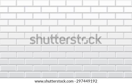 Seamless White Brick Wall Pattern Vector Wallpaper
