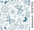 Seamless white christmas pattern with blue snowflakes and butterflies (vector) - stock vector