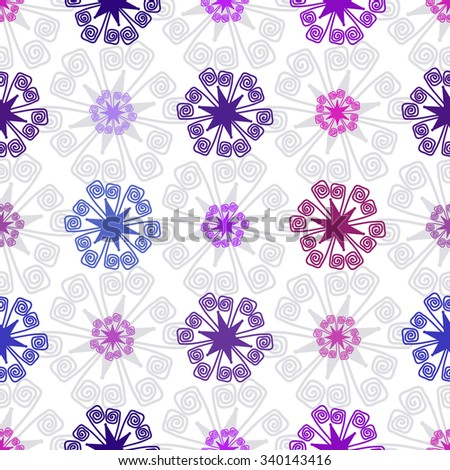 Seamless white christmas pattern with colorful snowflakes, vector eps 10 - stock vector