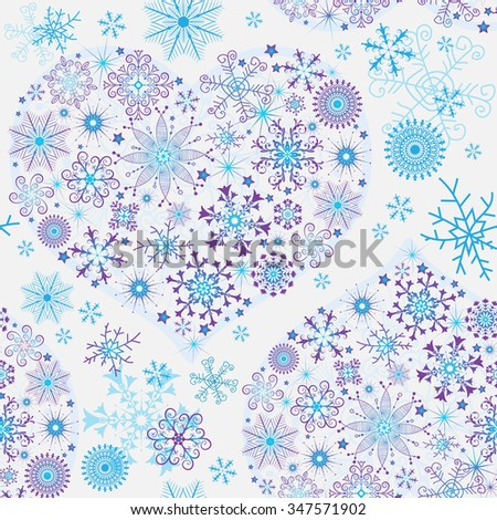 Seamless white christmas pattern with glowing snowflakes and snow hearts, vector - stock vector