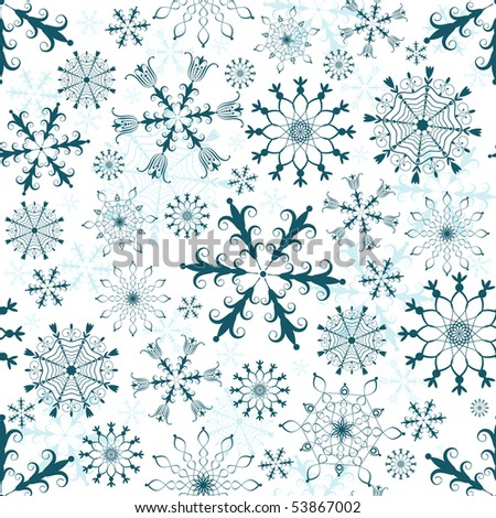 Seamless white, dark blue and blue christmas pattern (vector) - stock vector