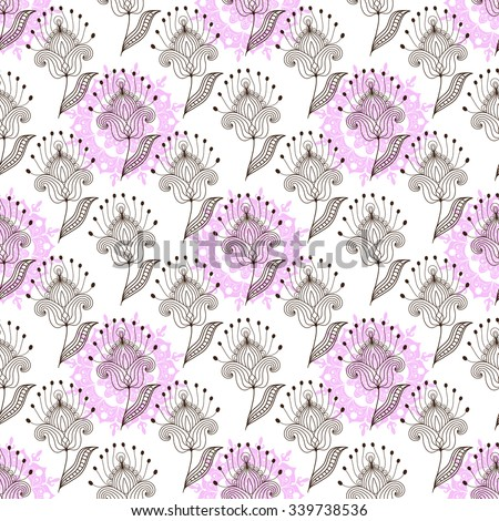 Seamless white floral pattern with brown and pink flowers, vector EPS 10 - stock vector