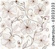 Seamless white floral pattern with brown flowers (vector) - stock vector