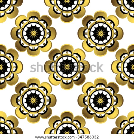 Seamless white floral pattern with gold vintage flowers, vector  - stock vector