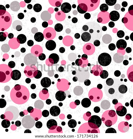 Seamless white grungy pattern with colorful  translucent balls (vector eps 10) - stock vector