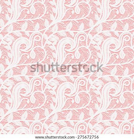 Seamless white lace fabric on a pink background. Subtle pattern of twigs and leaves. Vector illustration - stock vector