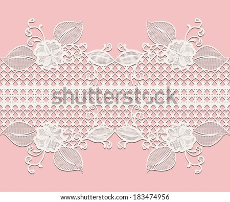 Seamless white lace ribbon with floral elements for design greeting cards or wedding invitations isolated on pink. Vector illustration. - stock vector