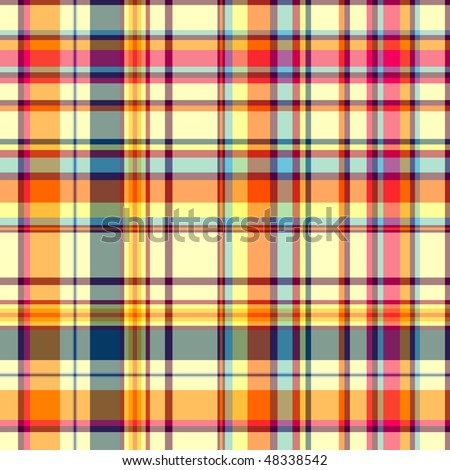 Seamless white-orange and blue checkered pattern (vector EPS 10) - stock vector
