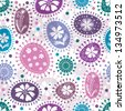 Seamless white pattern with colorful balls and flowers and polka dots (vector EPS 10) - stock photo