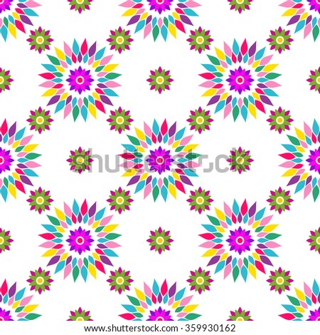 Seamless white pattern with colorful vintage flowers, vector - stock vector