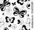 Seamless white pattern with silhouettes butterflies (vector) - stock vector