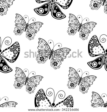 Seamless white pattern with silhouettes butterflies, vector eps10 - stock vector