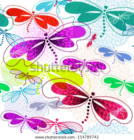 Seamless white pattern with vivid translucent colorful dragonflies and fireworks (vector EPS 10) - stock vector