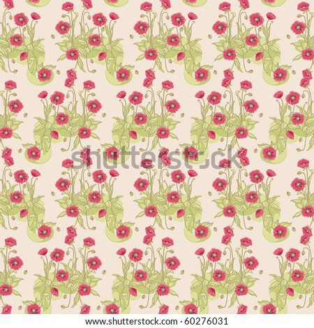seamless wild poppy pattern - stock vector