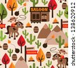 Seamless wild west cowboy saloon illustration kids background pattern in vector - stock photo