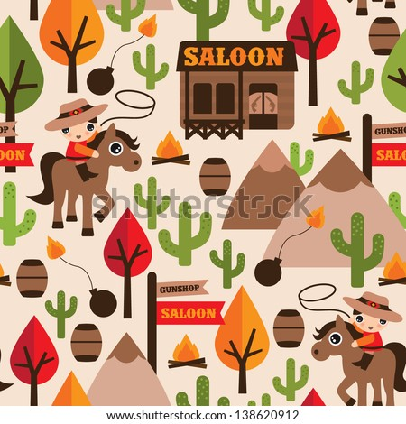 Seamless wild west cowboy saloon illustration kids background pattern in vector - stock vector