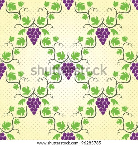 Seamless wine grape pattern. EPS 8 vector illustration. - stock vector
