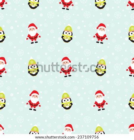 Seamless winter background with snowflakes, penguins and Santa Claus. Winter pattern. For cards, invitations, wedding or baby shower albums, backgrounds, arts and scrapbooks. Vector image.  - stock vector