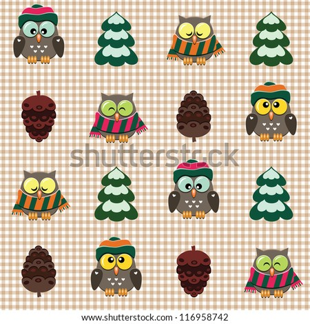 Seamless winter checked pattern with little cute owls dressed scarfs and hats - stock vector