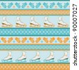 Seamless winter pattern. Sport  background with figure ice skates, mittens and snowflakes. Blue orange texture - stock vector