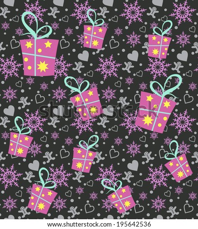Seamless winter pattern texture. Christmas background. paper for packing Christmas gifts. Vector illustration.