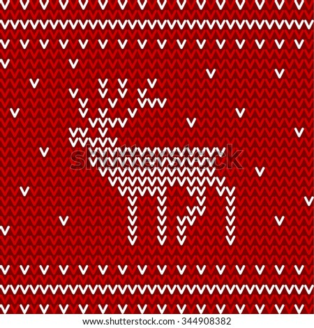 Seamless winter pattern with christmas deer. Red and white knitted background
