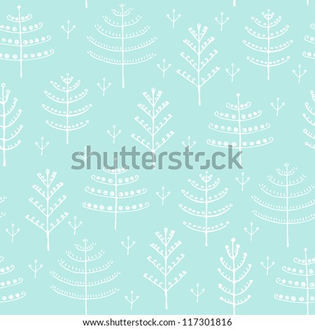 Seamless winter pattern with decorative trees. Hand drawn texture for design textile, wrapping paper, backgrounds - stock vector
